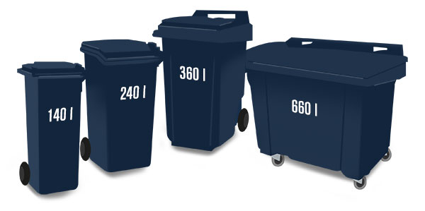 Neljä eri kokoista jäteastiaa. Fyra sopkärl.